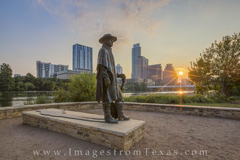 Austin Texas, austin images, austin skyline, SRV statue, Stevie Ray Vaughan, austin skyline pictures, austin sunrise
