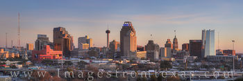 san antonio skyline, high rise, skyscraper, tower of the americas, frost tower, frost, skyline, downtown, evening, panorama, texas skyline