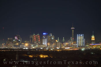 san antonio, skyline, frost tower, frost bank, tower of the americas, tower, night, high rises, texas skylines, winter