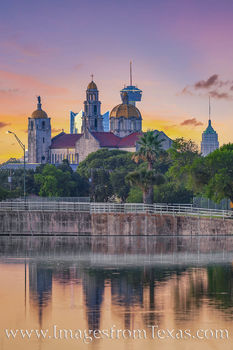 san antonio, skyline, woodlawn lake, tower of the americas, tower of life, frost tower, Basilica of the National Shrine of the Little Flower