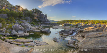 texas hill country, pedernales falls, pedernales river, hill country photos, pedernales falls state park, texas state parks, texas sunrise, texas landscapes, panorama