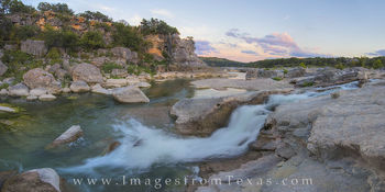 texas hill country, pedernales falls, pedernales river, texas sunset, panorama, texas landscapes, texas images, texas hill country photos