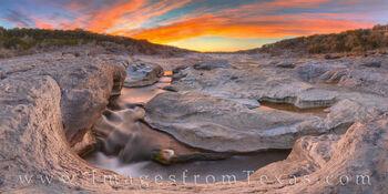 Spring Sunset Panorama at Pedernales Falls 314-4