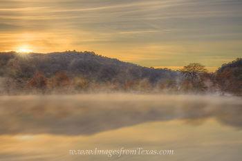 Sunrise over a Misty Pedernales River