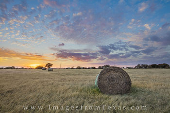 Sunset over Texas Hay Bales 5