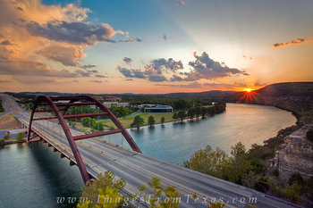 Sunset over the 360 Bridge and Austin