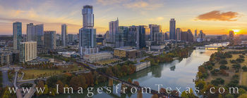 aerial photography, austin skyline, zilker park, ladybird lake, sunrise, panorama, autumn, november, morning, town lake, fall colors, jenga building, independent, austonian, springs, 360 towers, austi