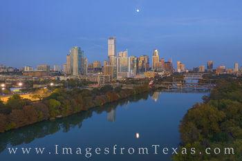 Texas Aerials - Full Moon over the Autumn Austin Skyline 1120-2