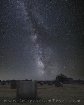 Texas Hay and Barn under the Milky Way 1