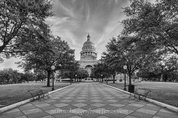Texas State Capitol October Black and White 1