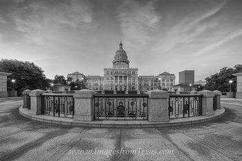 Texas State Capitol October Black and White 2