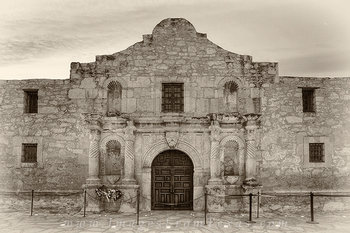 alamo,sepia,black and white,san antonio,texas,history,alamo prints