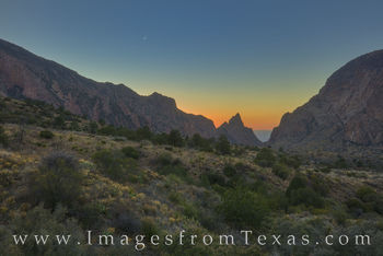 big bend, chisos lodge, chisos mountains, moon, crescent moon, chihuahuan desert, evening, national parks, landscapes