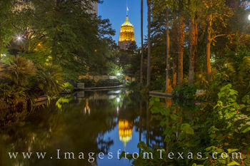 Tower of Life, Riverwalk, San Antonio, reflection, san antonio river, evening