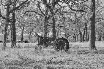 tractor,texas black and white,texas photos,tractor images,traces of texas,old texas