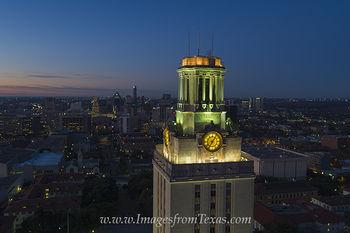 UT Tower Sunrise Aerial with Austin 2