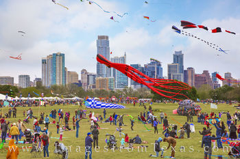 zilker park, kite festival, austin texas, downtown austin, skyline, march, spring