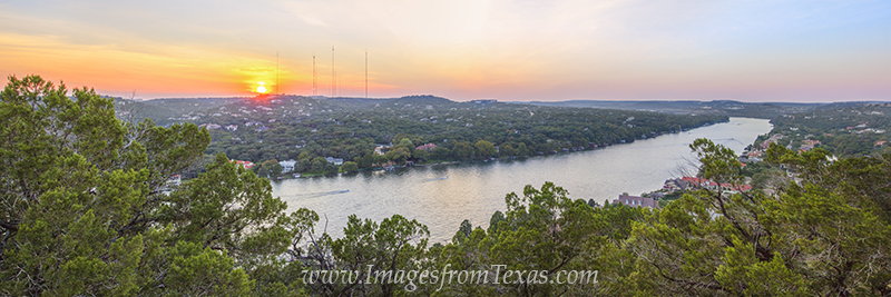 mount bonnell pano,austin landmarks,mount bonnell photos,austin panoramas,austin sunsets