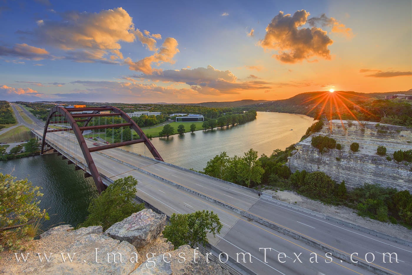 360 Bridge, pennybacker bridge, austin tx, austin overlook, austin icons, colorado river, hill country, sunset, bridges, 360 highway, photo