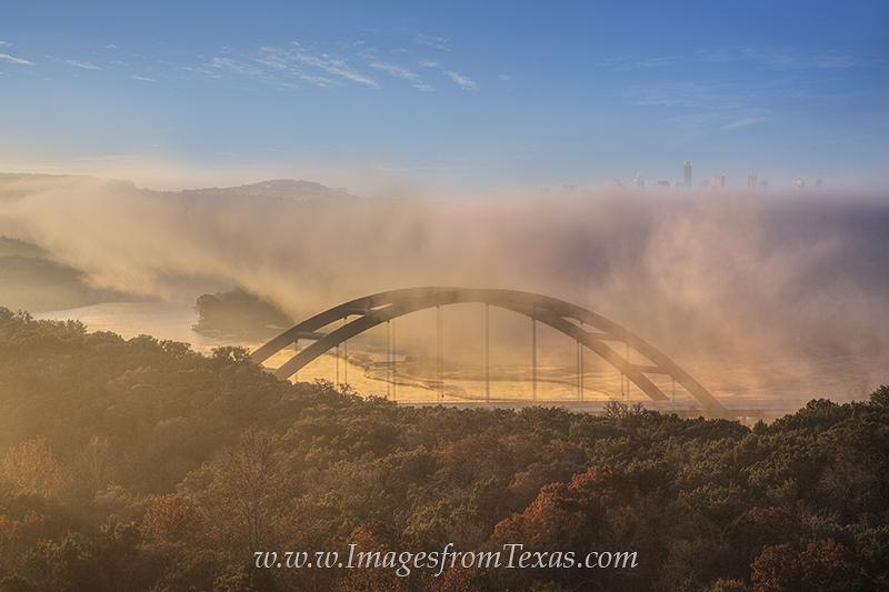 360 bridge,austin bridges,pennybacker bridge,austin skyline,austin fog,360 bridge in fog, photo