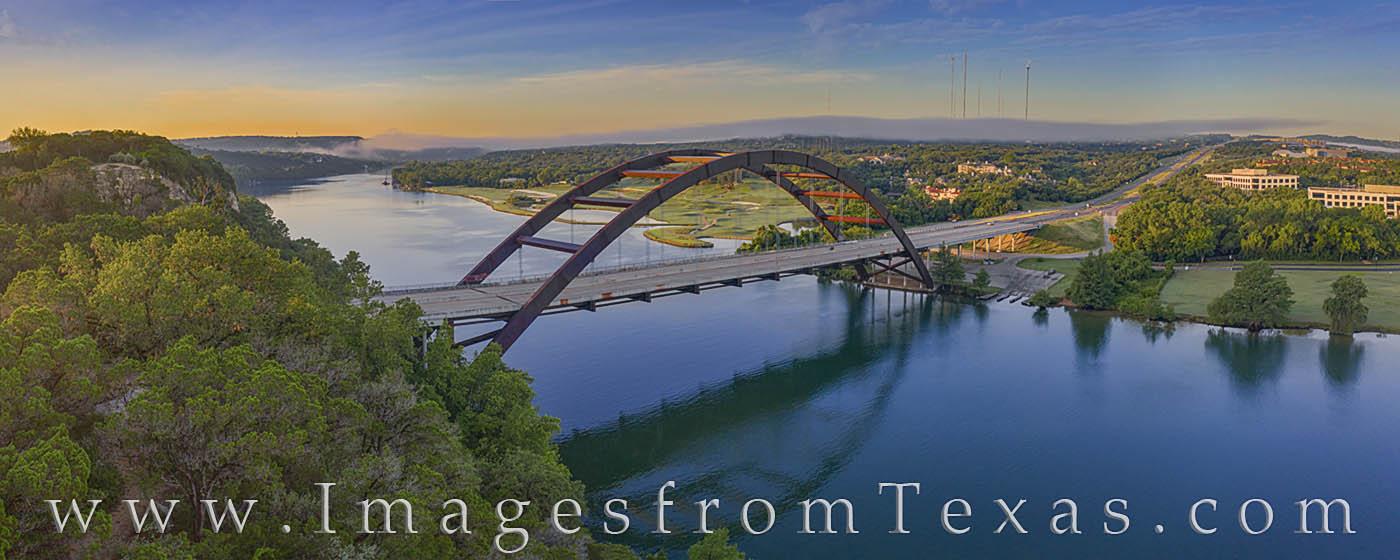 pennybacker bridge, 360 bridge, austin, bridges, austin icon, aerial, drone, panorama, morning, summer, photo