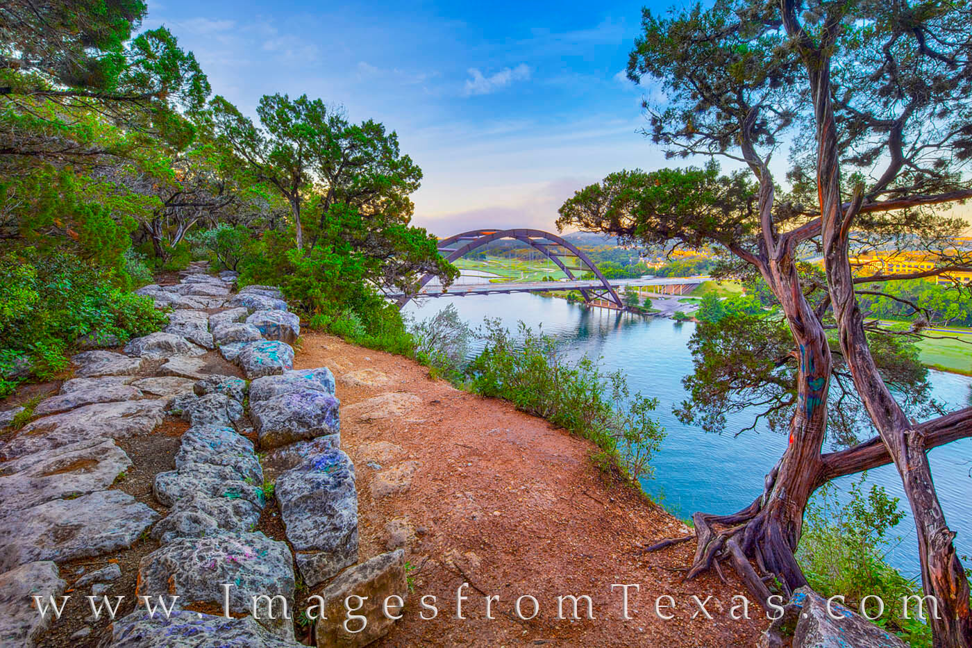 360 bridge, pennybacker bridge, morning, clouds, sunrise, summer, austin icons, austin texas, bridges, colorado river, photo