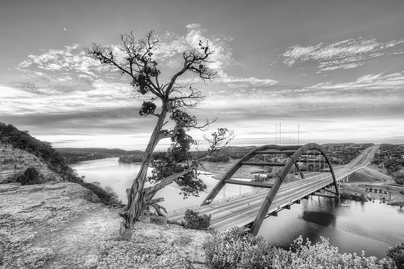 360 bridge,black and white,pennybacker bridge,austin texas, photo