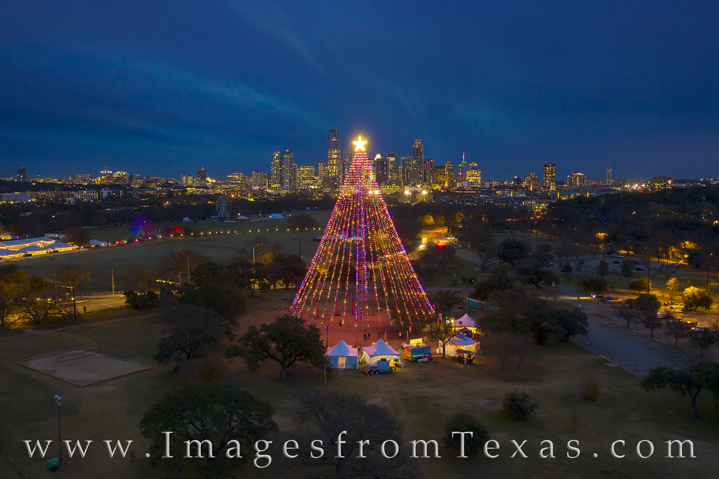 Zilker Christmas Tree, Zilker Park, Christmas, Tree, Trail of Lights, December, Austin skyline, Austin texas, downtown austin holiday, jenga tower, frost tower, austonian, barton springs, night, photo
