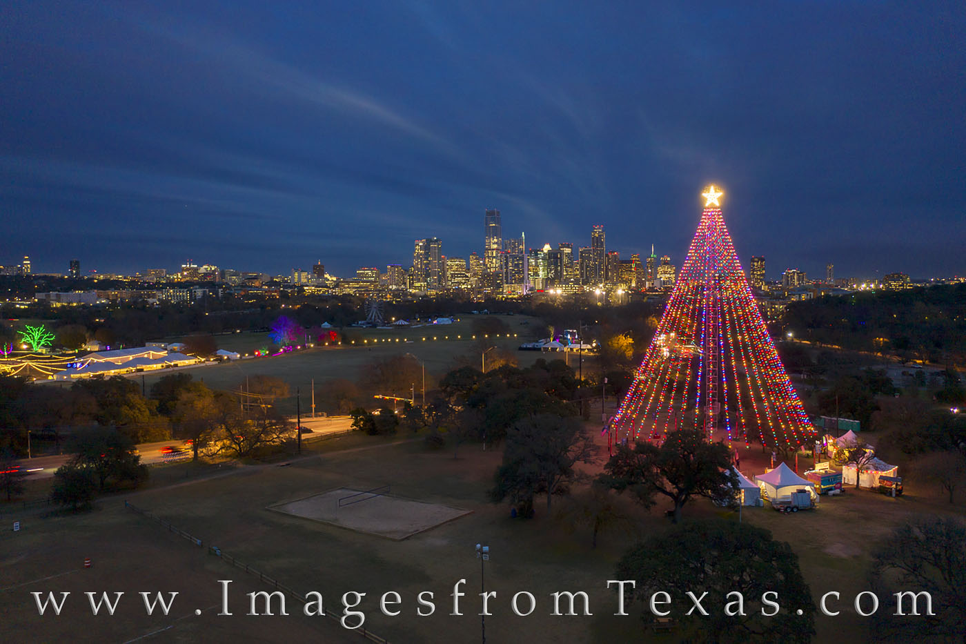 christmas, austin skyline, zilker park, zilker tree, trail of lights, austin, austin photos, barton springs, jenga tower, independent, ut tower, george bush, george h.w. bush, 41, 41 on tower, photo