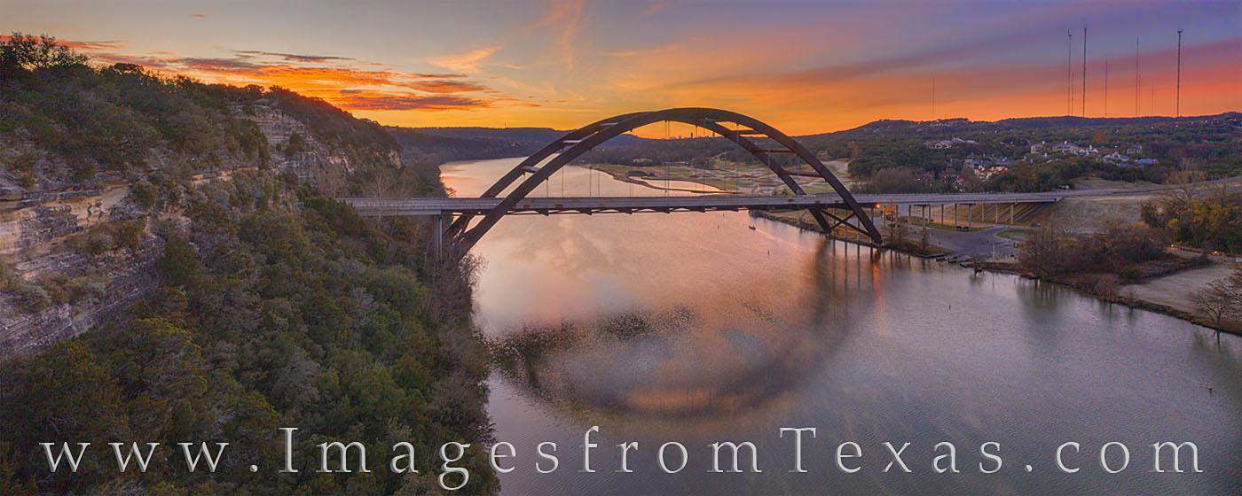 Pennybacker bridge, 360 bridge, austin bridge, austin icon, austin skyline, downtown, colorado river, sunrise, morning, december, winter, cold, photo