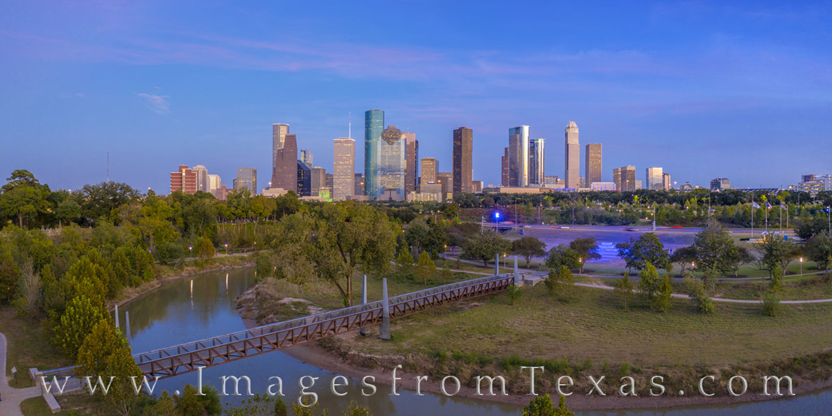 aerial, houston aerial, downtown houston, buffalo bayou, allen parkway, Tinsley Park, police memorial, panorama, photo
