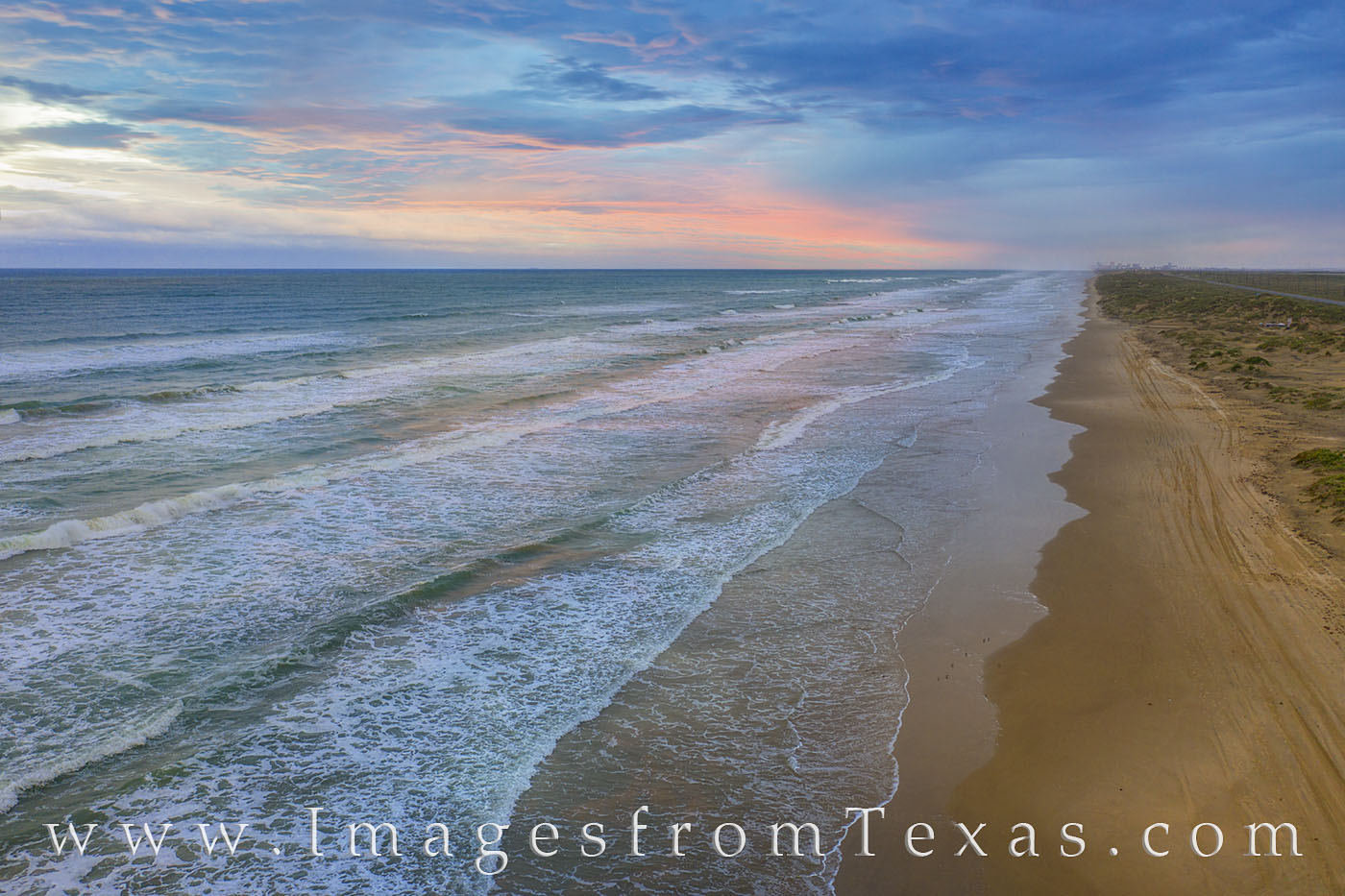 south padre island, sunrise, morning, drone, aerial, beach, sand, waves, surf, photo