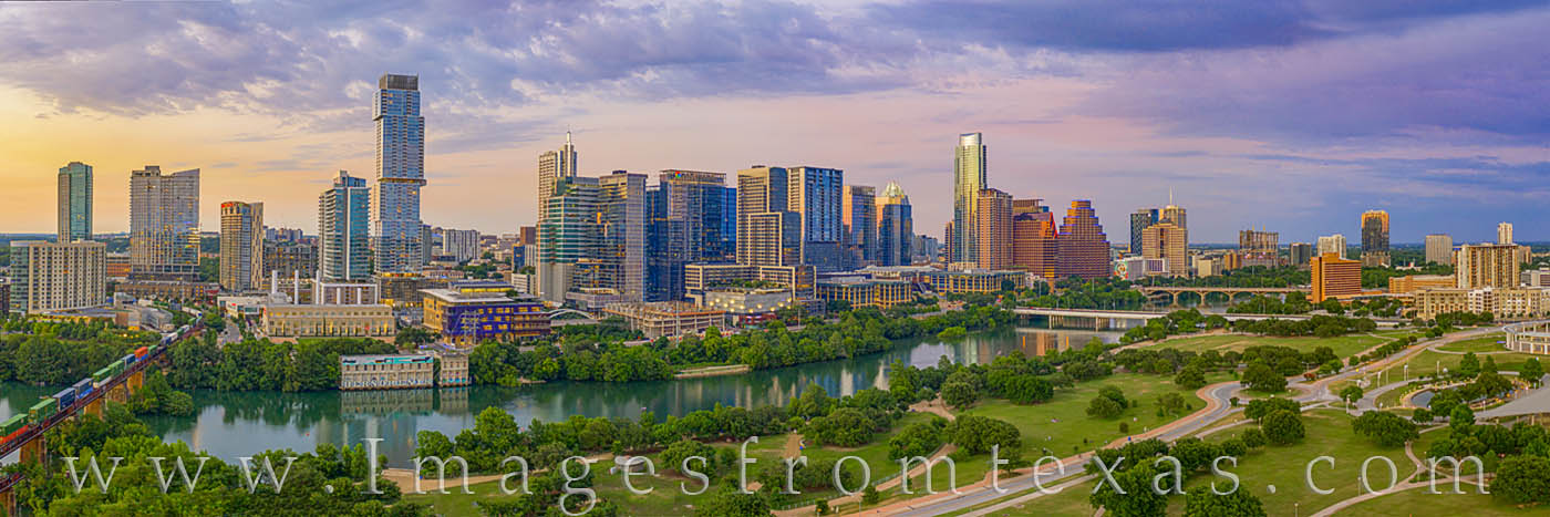 austin, downtown, drone, aerial, evening, town lake, ladybird lake, jenga, austonian, train, zilker park, photo