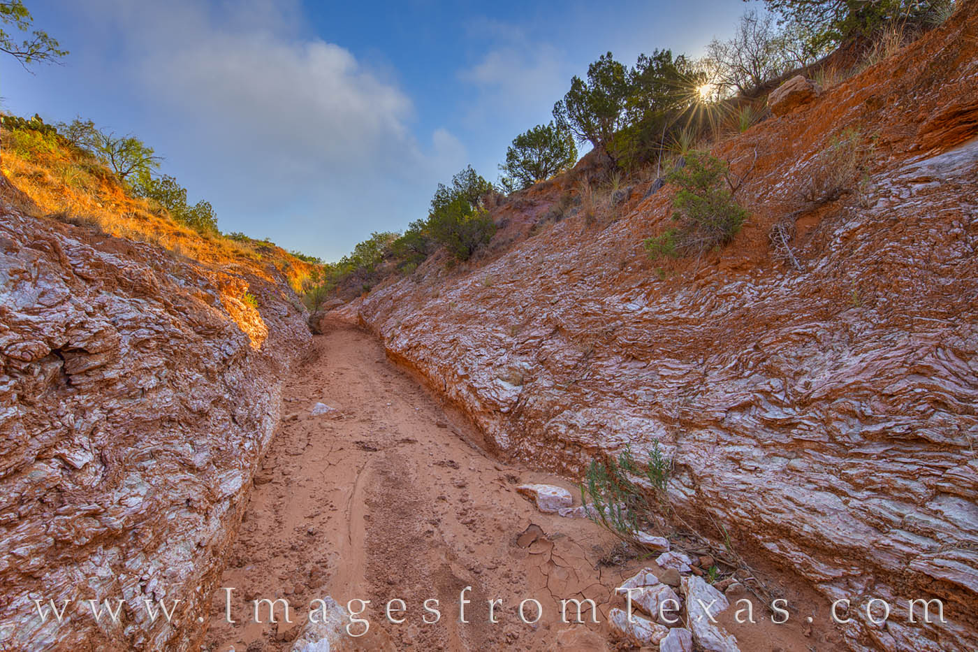 White layers of gypsum fill this wash in Caprock Canyon State Park. If not for the 95 degree temps, you might think it was snow...