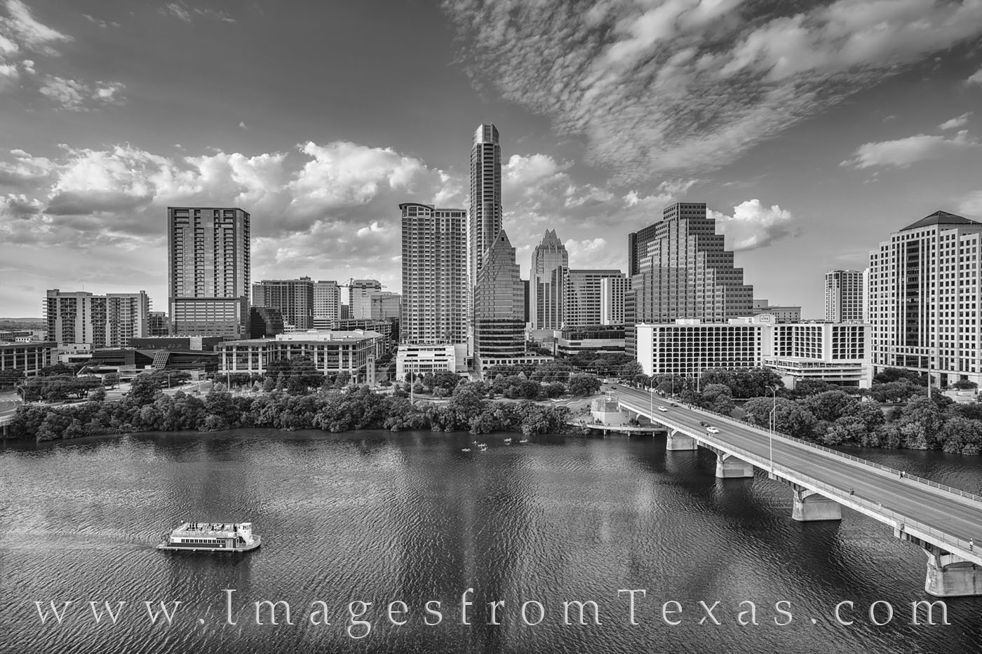 austin skyline, austin, downtown, ladybird lake, congress bridge, first street bridge, austonian, frost tower, summer, sunset, afternoon, hyatt, black and white, photo