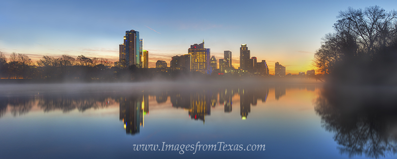 This panorama shows the Austin, Texas, skyline from across the waters of Lady Bird Lake. Taken on a cold January morning, the...