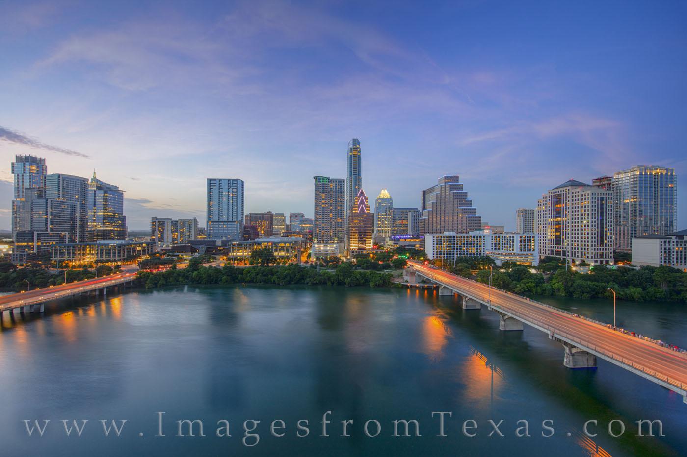 austin skyline, austin, downtown, ladybird lake, congress bridge, first street bridge, austonian, frost tower, evening, sunset, afternoon, hyatt, photo