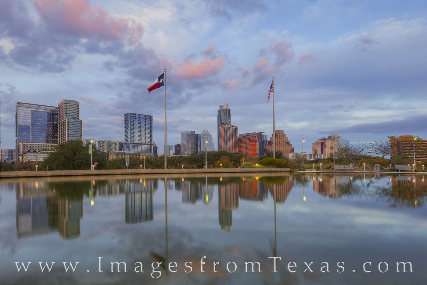 From the pool just to the west of the Long Center near downtown Austin, Texas, this view shows the reflection of the skyline...