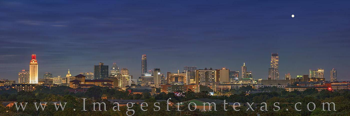 austin skyline, UT Tower, austonian, capitol, jenga, morning, downtown, moon, photo