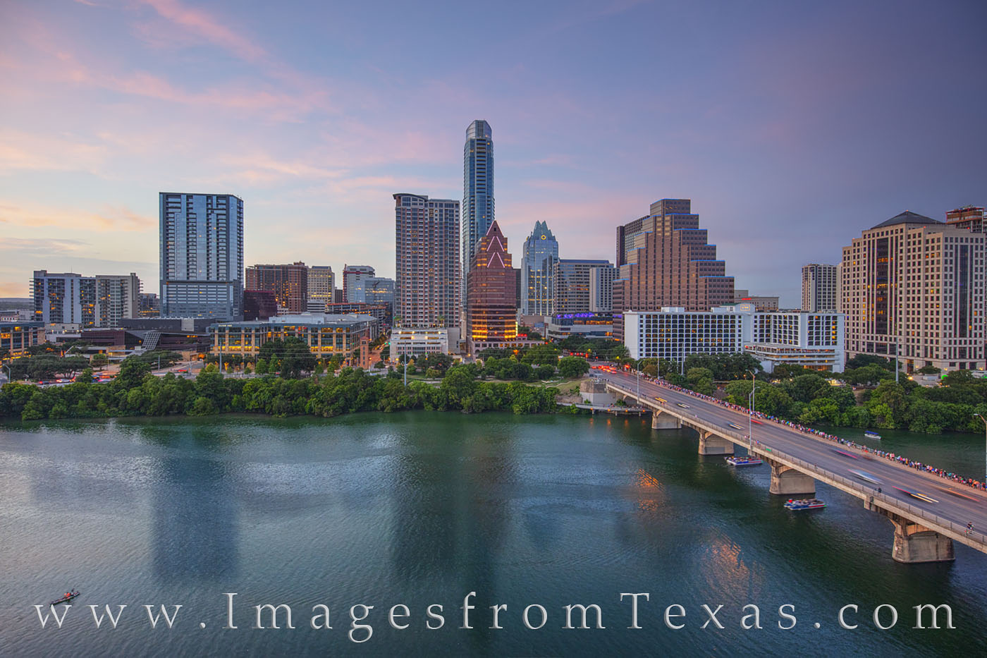 austin skyline, downtown, congress avenue, congress bridge, evening, summer, austonian, frost tower, bats, hyatt, ladybird lake, town lake, photo