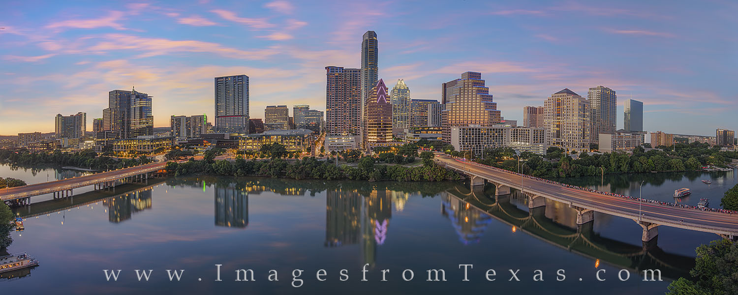 austin skyline panorama, austin skyline photos, panorama, austin texas images, downtown austin, lady bird lake, town lake, congress bridge, austonian, frost tower, frost bank, first street bridge, con, photo