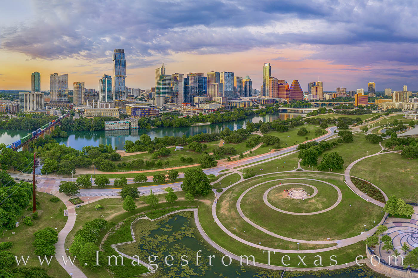 From about 200' above Lady Bird Lake and  Zilker Park, this view offers an amazing landscape of the downtown Austin area. A...