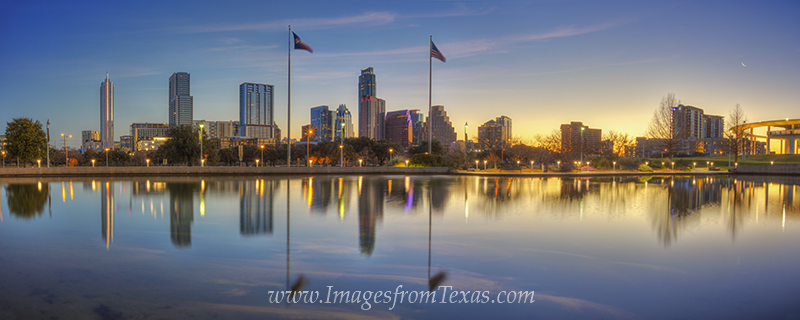 austin panorama,austin texas panorama,downtown austin,austin skyline,austin texas skyline,austin sunrise panorama,frost tower,austonian,long center, photo