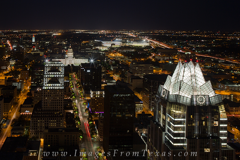 frost tower at night,texas capitol at night,UT Tower,austin cityscape,austin from the Austonian, photo
