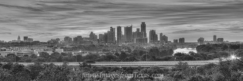 austin panorama,austin black and white,black and white,austin skyline pano,austin skyline image,austin skyline prints,downtown austin pano,austin sunrise, photo