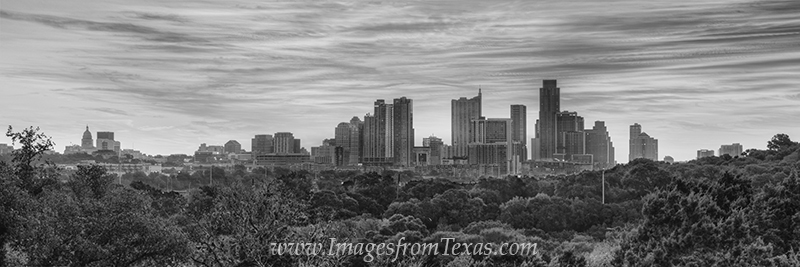 From a lookout on one end of the Zilker Park HIke and Bike Trail, this black and white panorama shows downtown Austin on a beautiful...