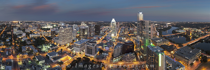 Stitched from three images, this November panorama of downtown Austin was taken a little after sunset as the city began to light...