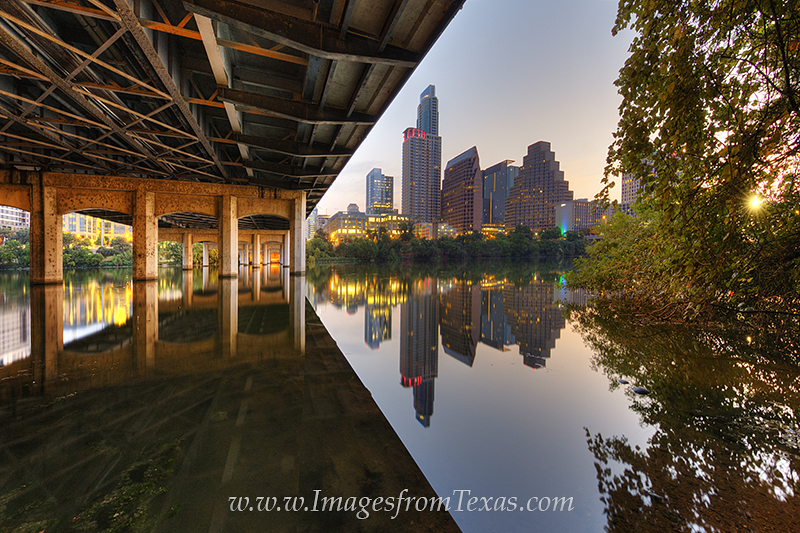austin skyline,austin skyline photos,austin prints,First street bridge,lady bird lake,downtown austin, photo