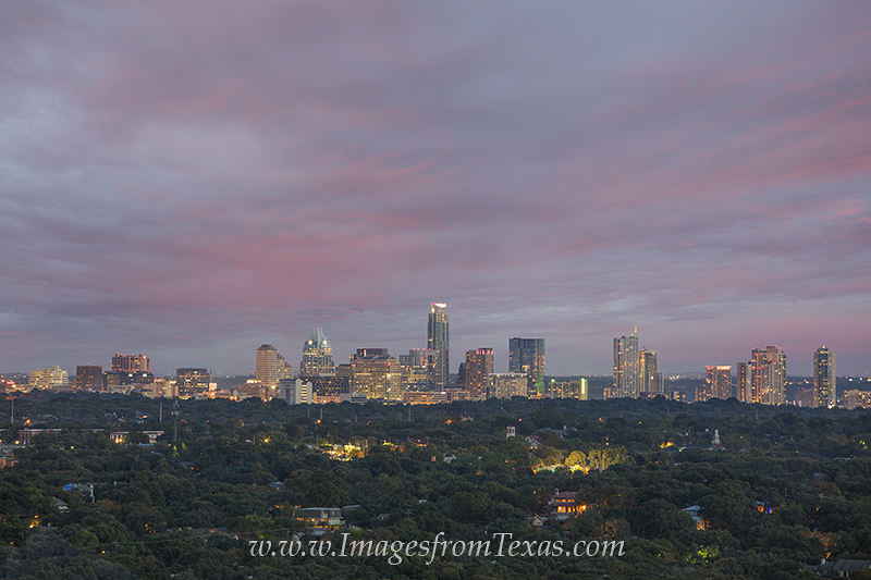 From Mount Bonnell, this is the distant Austin, Texas skyline on a pleasant October evening. The sun was setting behind me, but...