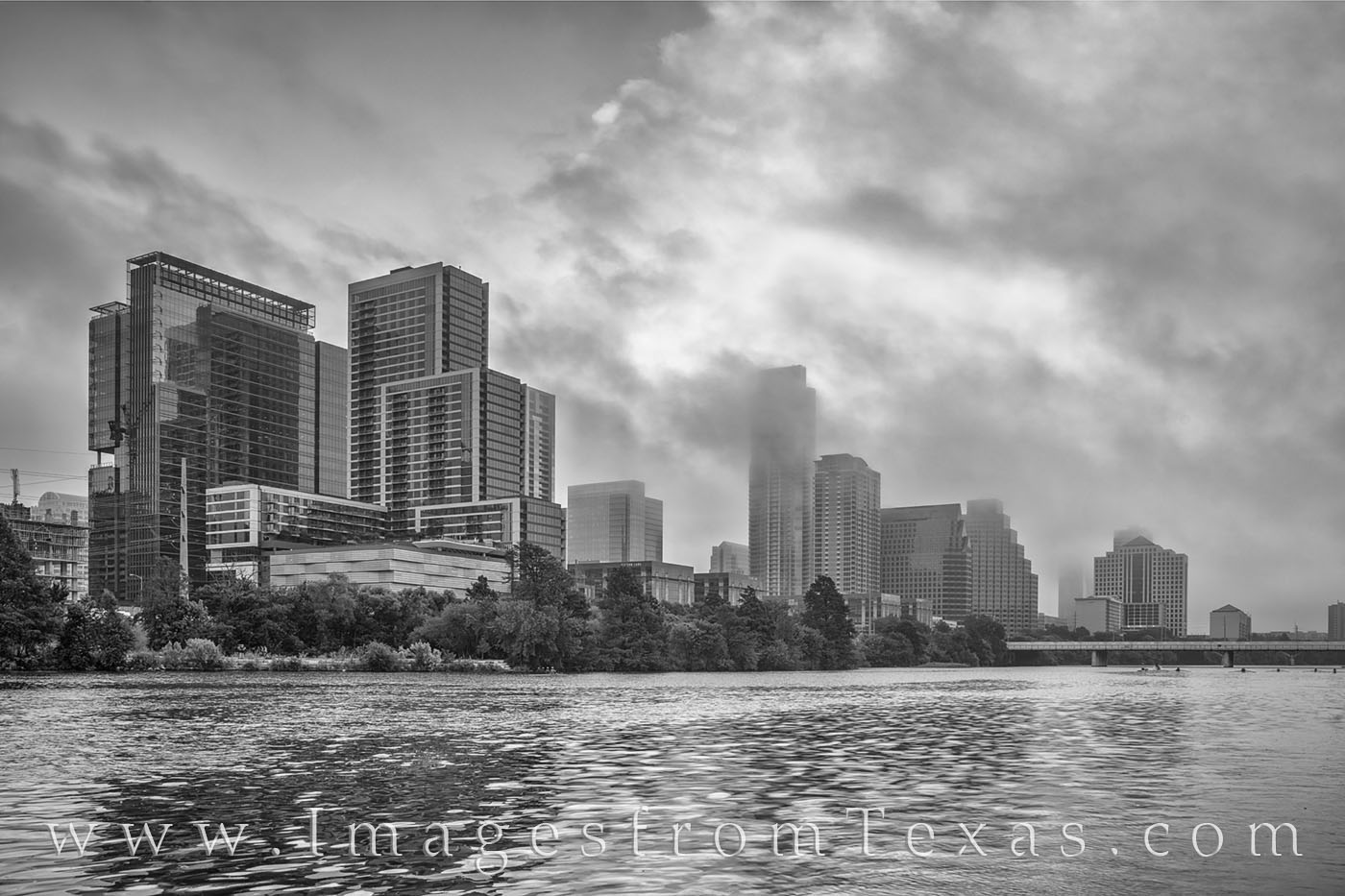 austin, austin texas, atx, austin skyline, lady bird lake, town lake, black and white, skyline, texas skyline, morning, fog, clouds, photo